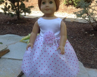 """Special occasion pink long polka dot dress/ fits 18"""" American doll"""