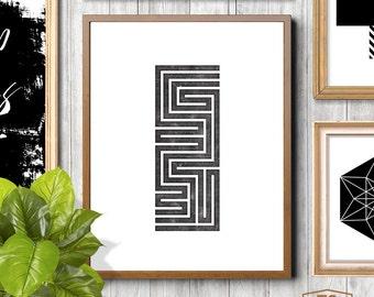 Black white affiche scandinavian design nordic design maze design letterpress design minimal design