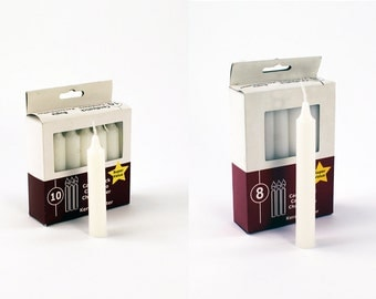 """Unscented White Mini Taper Candles 3.75""""H Set of 10PCS or 5""""H Set of 8PCS"""