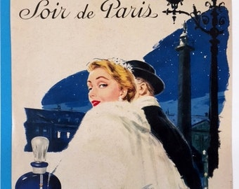 """Vintage French Perfume Ad, """"Evening in Paris"""" - 1955"""