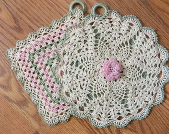 Two hand crochet old fashioned pot holders