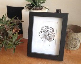 Original tattoo design Mary Pickford Ladyhead - FREE SHIPPING