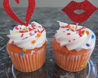 cupcake toppers, party supplies, Valentine's Day, hearts, lips, sparkly, glitter