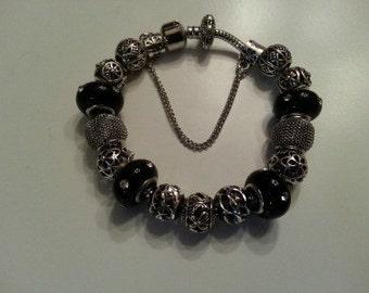 European Style Charm Bracelet with Murano glass beads, Pandora Style Bracelet - Free Shipping