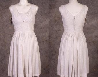 Vintage 1950s White Eyelet Marilyn Dress