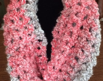 Crochet Infinity Scarf in Pink and Grey