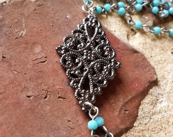Long turquoise beaded chain necklace