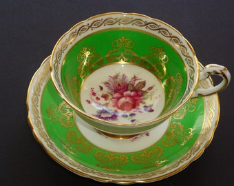 Paragon England Green and Gold with Floral Spray Cup and Saucer - A4750