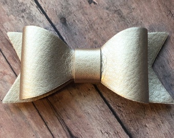 Gold Faux Leather Bow on Shimmer Elastic Headband or Clip, Buy 3 Get 1 Free! Gold Leather Hair Bow, Small Gold Hair Bow, Gold Hair Bow