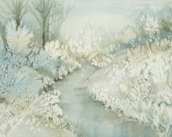 ORIGINAL painting, watercolor, signed, winter, stream, water, botanical, frost, wooded, scenic, nature, gift art, 18x24/mounted 22x28