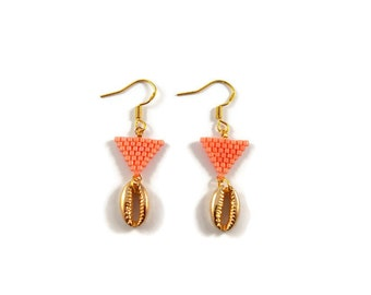 Earrings Golden Cauri shells and beads Miyuki