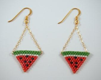 Watermelon earrings Miyuki beads / gold goldfilled