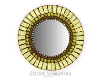 Round Green Mirror, Mosaic Wall Mirror, Small Accent Mirror