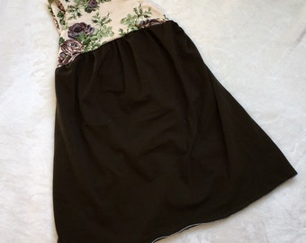 2T Olive Green and Cream Floral Dress