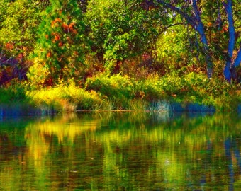 Fall At Ahjumawi Lava Springs (Photograph) - Fine Art Color Enhanced Landscape Nature Photography Print - California State Park