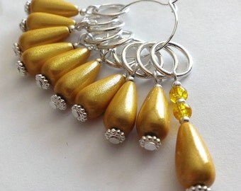 Golden yellow beaded stitch markers - set of 10 yellow knitting stitch markers crochet markers