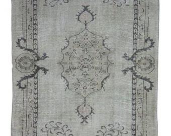 Turkısh Handmade Vintage Overdyed Rug .
