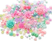 Enchanted Garden Cabochon Rhinestone Pearl Set Kit DIY Decoden Kawaii Craft Mix