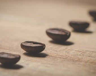 Vintage Abstract Fine Art Photographic Print of Coffee Beans on Wood Surface to print on paper or canvas or metal or acrylic