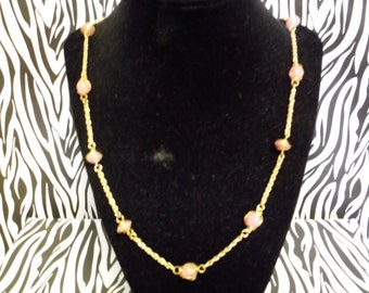 gold chain pink necklace
