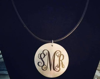 Shell monogrammed necklace vinyl custom