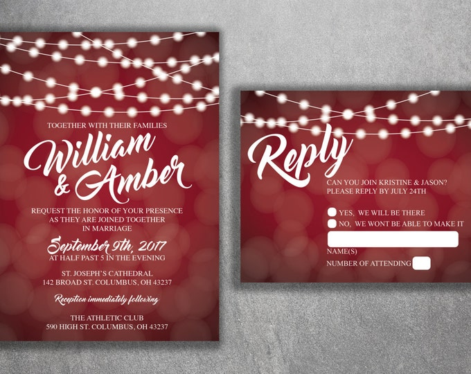 Red and White Lights Wedding Invitations Set Printed - Cheap Wedding Invitation, Affordable Wedding Invites, Lights, Sparkly, Elegant, RSVP