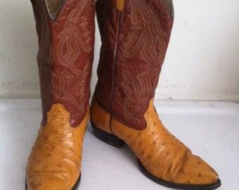 Orange ostrich old western cowboy boots , men's size 11.