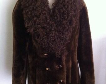 Coat female brown mouton fur/lama fur
