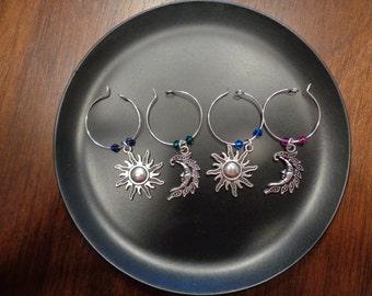 Sun and Moon Wine Charms!! w/ Swarovski Crystal