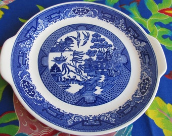 Vintage Blue Willow Round Serving Platter