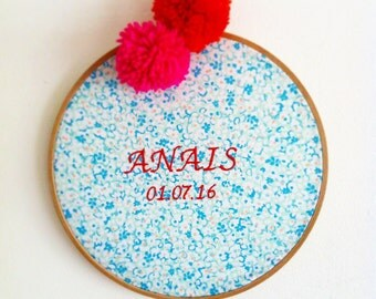 Drum embroidery customizable. embroidered name. fabric fantasy. decoration for child's room. christening gift.