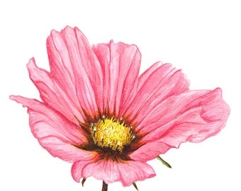 Hand painted greeting card, flower  , copy of original