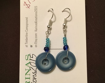 Blue Button Earrings