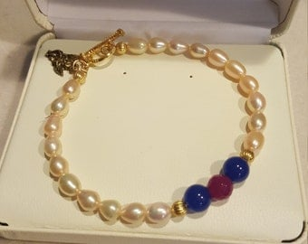 Ruby Sapphire and Pearl Bracelet
