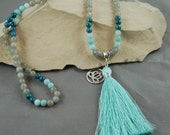Dreams are made of this- Mala- Stunning blues,prehnite,apatite, labradorite-silk tassel