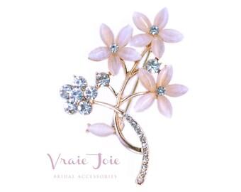 Wedding Brooch, Wedding Jewellery, Crystal, Rhinestone, Rose Gold, Brooch