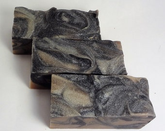 Charcoal Swirl Soap, All Natural Handmade Soap, Hot Process Soap, Activated Charcoal Soap, Shea Butter Soap