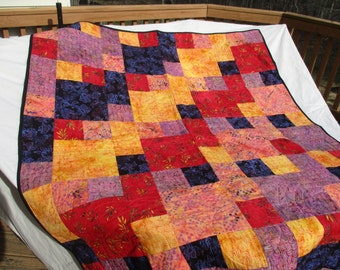 Quilted throw, handmade quilt, bed comforter, full size quilt, bed size quilt