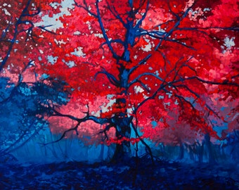 Red tree in the forest.Instant download.JPG and TIFF files for printing an original oil painting.