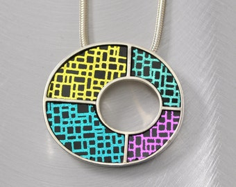 Contemporary Statement Pendant, Sterling Silver And Patterned Art Glass, Modern Artisan Jewelry by JustMOD