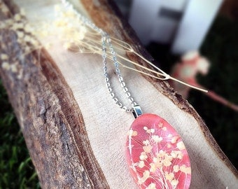 Gypsophila dried flower,resin necklace,light pink sweet,Stainless steel necklace,love gift,oval shape,ready to ship