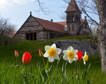 Ames Free Library of Easton and Flowers- 11x14 Canvas Photograph, In stock and ready to ship!
