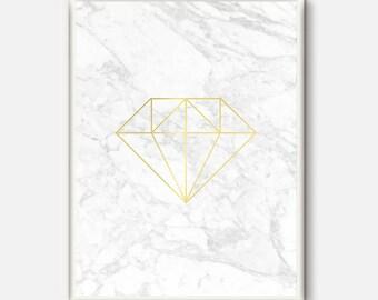 Marble Print, White Marble Art, Gold and White Decor, Diamond Modern Printable, Geometric Diamond, Gold Diamond Wall Print, Gold Home Decor
