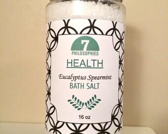 Eucalyptus Spearmint Bath Salt 16 oz - Health