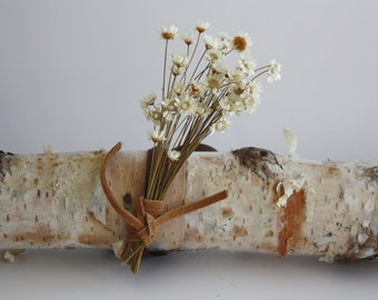 White Wrist Corsage, Wedding Corsage, Dried Flower Bracelet, Dried Flower Corsage, Prom Corsage, Anniversary Corsage