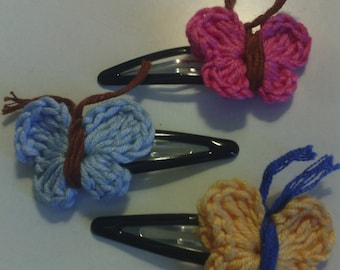 Crochet butterfly hair clips, set of 1 (3) pair(s) in pink, yellow and light blue color