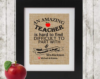 Personalized Teacher's Gift - An Amazing Teacher is hard to find - Christmas Gift for Teacher - Gift for Teacher - Unique Gift for Teacher -