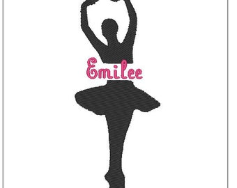 Ballet Dancer split silhouette shadow embroidery pattern 4 inch download for Machine Embroidery