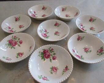 Old English Johnson Bros Pink Rose Cereal, Dessert Bowls JB256