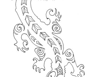 tuatara reptile digital design coloring page large a3. Black Bedroom Furniture Sets. Home Design Ideas